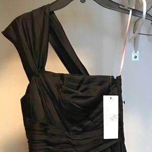 Full Length Silk Black Bridesmaid Dress